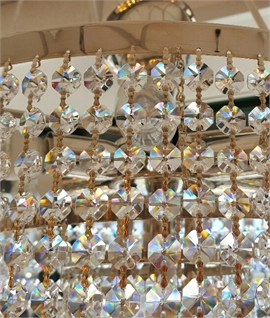 Drum & Cascading Crystal Chandelier - Nickel or Brass