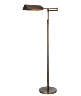 Brass Swing-Arm Adjustable Floor Lamp