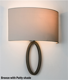 Shallow Projection Wall Light with Wrap-Around Fabric Shade