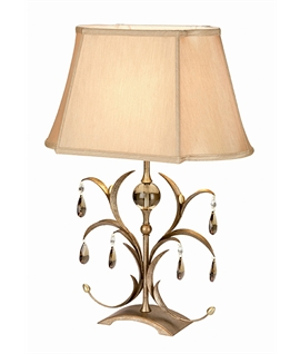 Bronze & Cut Glass Shaded Table Lamp