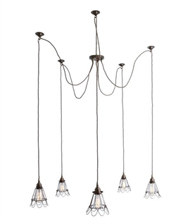 Industrial Style Cluster 5 Light Cage Pendant