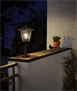 Outdoor Cage IP44 Pedestal Light - Two Finishes