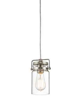 Clear Glass Shade Vintage Pendant - Two Finishes
