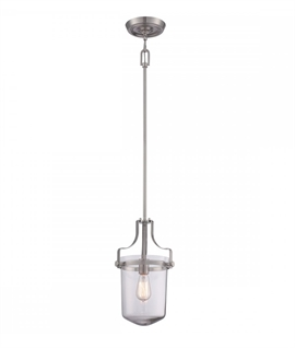 Inverted Clear Glass Bowl Hanging Lantern - Two Sizes