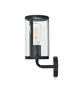 Smokey Fireside Black Finish Wall Light