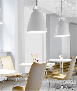 Caravaggio White High-Gloss Pendant with Grey Cord