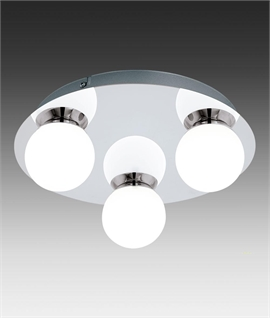 LED Polished Chrome Light with Three Opal Glass Spheres