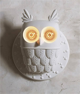 White Ceramic Owl Wall Light