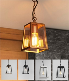 Chain-Hung Square Hall Lantern Plain Glass for Indoor or Out