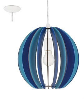 Wooden Slatted Globe Pendant - Two Colours