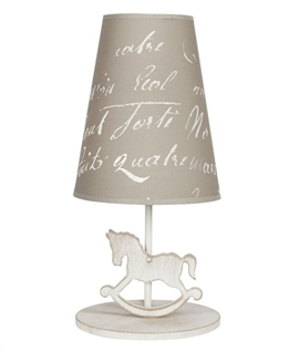 Childrens Wooden Rocking Horse Table Lamp with Shade