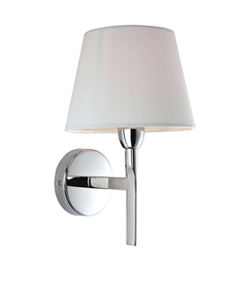 Modern Clean Line Wall Light In Chrome With Off-White Fabric Shade