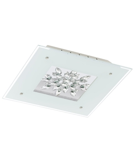 Square LED Semi Flush Glass & Crystal Light