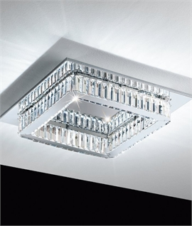 Square Crystal & Glass LED Semi Flush Light