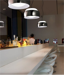 Big Bold Opal Glass Light Pendant - Choice of Chrome or White