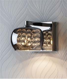 Chrome & Smoked Mirror Glass & Crystal Wall Light