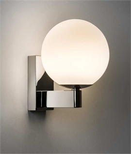 Chrome Wall Light with Opal Glass Round Shade
