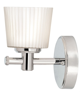 Single Chrome Wall Light with Rippled Glass