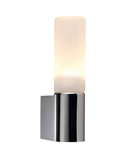 Chrome & Opal Glass Tubular Wall Light - IP44