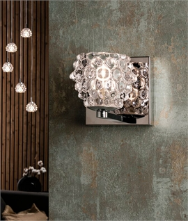 Chrome and Pressed Glass Shade Wall Light