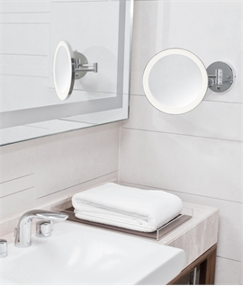 Circular IP44 LED Vanity Mirror 5x Magnification