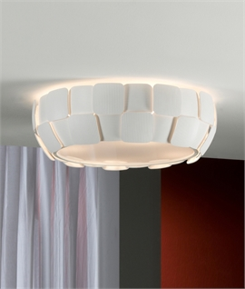 Modern White Fluted Disk Flush Light with Diffuser