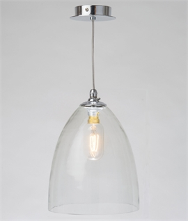 Clear Hand Blown Glass Shade Pendant