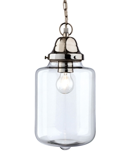 Large Glass Jar Pendant with Chrome Detail