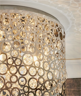 Modern Chrome and Crystal Ceiling Mounted Drum Light