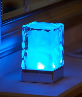 Colour Changing Ice-Cube Style Table Lamp - Wireless Charging