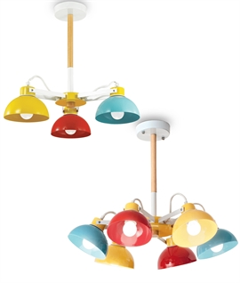 Coloured Adjustable Lamphead Pendant - 3 or 6 Light