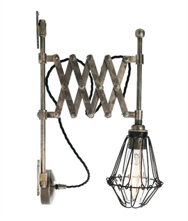 Concertina Arm Wall Light with Cage Detail