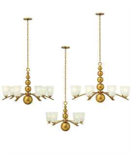 Modern Flemish Chandelier in Vintage Brass with Glass Shades