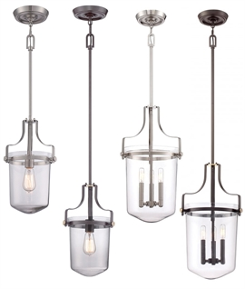 Rod Suspended Glass Lantern - in Bronze or Nickel Finish