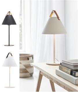 Contemporary Leather Strap Metal Table Lamp
