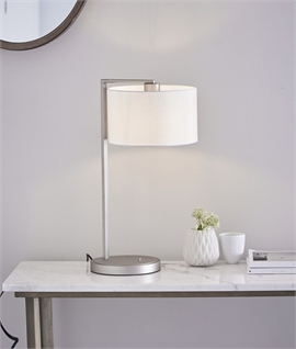 Matt Nickel Contemporary Table Lamp With Fabric Shade