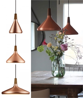 Brushed Copper & Walnut Wood Pendant - 3 Sizes