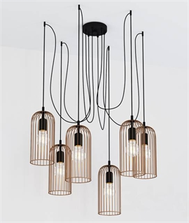 Copper Cage Six Light Off-Set Hanging Pendant