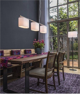 Bar Pendant Light with 3 Textile Shades