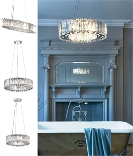 Crystal Prism Drum Chandeliers - Designed for Bathrooms