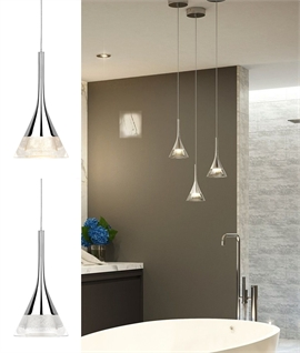 Crystal Glass Cone LED Light Pendant - Bathroom Safe