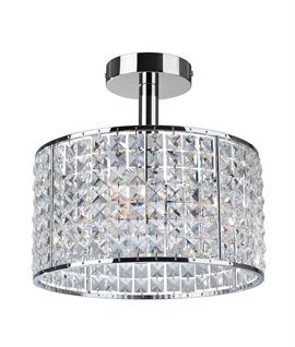 Decorative Crystal & Chrome Semi-Flush Light IP44