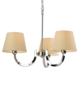 Chrome Multi-Arm Pendant with Cream Shades