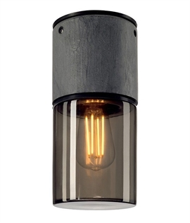 Surface Mounted Basalt & Smoked Glass Light - IP44