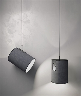 Single Grey Pendant with Ability to Tilt Shade