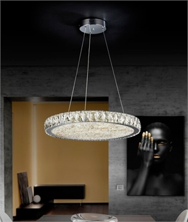 Suspended LED Chrome & Crystal Pendant