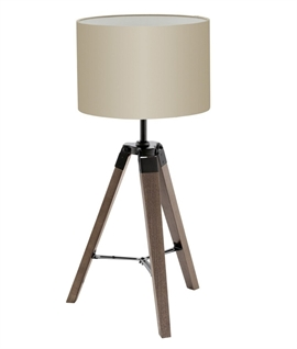 Wooden Tripod Table Lamp with Shade
