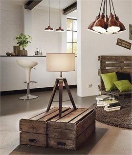 Wooden Tripod Table Lamp & Shade - Two Finishes