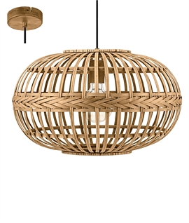 Round Wooden Wicker Pendant with Weave Detail
