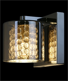 Smoked Glass Wall Light with Crystals & Chrome Back Plate